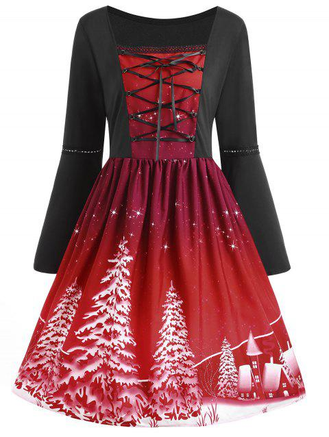 2a0ec53dbb786 17% OFF  2019 Plus Size Lace Up Christmas Tree Print Dress In WINE ...