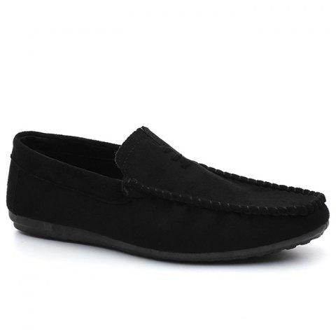 Faux Suede Soft Sloe Mocassin Shoes - BLACK 43