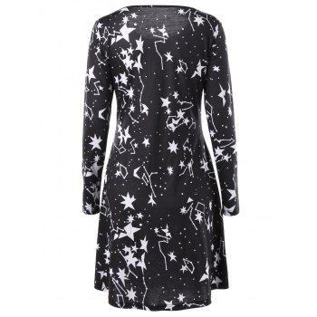 Monochrome Star Long Sleeve Tee Dress - L L