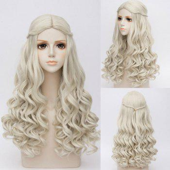 Long Middle Part Wavy Synthetic Alice in Wonderland White Queen Cosplay Wig - GRAY GRAY