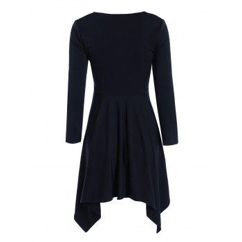Sweetheart Collar Long Sleeve Handkerchief Tunic Dress - PURPLISH BLUE PURPLISH BLUE
