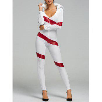 Hooded Christmas Faux Fur Costume Jumpsuit - RED AND WHITE RED/WHITE