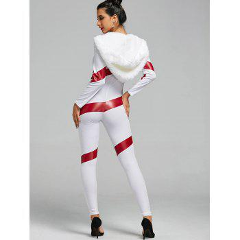 Hooded Christmas Faux Fur Costume Jumpsuit - RED/WHITE RED/WHITE