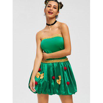 Strapless Pompom Holiday Costume Dress - ONE SIZE ONE SIZE