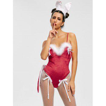 Velvet Christmas Bunny Costume Teddy - Rouge ONE SIZE