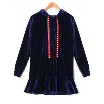 Stars Drawstring Velvet Hooded Drop Waist Dress - DEEP BLUE DEEP BLUE