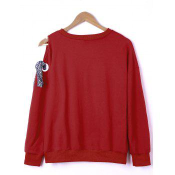 Side Bowknot Embellished Plus Size Sweatshirts - Rouge 4XL