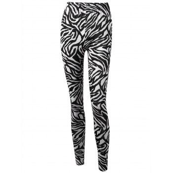 Zebra Striped High Waist Leggings - WHITE AND BLACK M