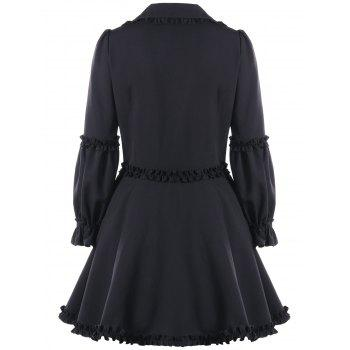 Ruffle Trimmed Lace Up Coat - Noir XL