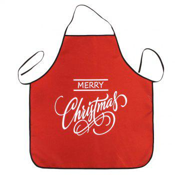 Merry Christmas Letters Print Waterproof Apron - RED 80*70CM