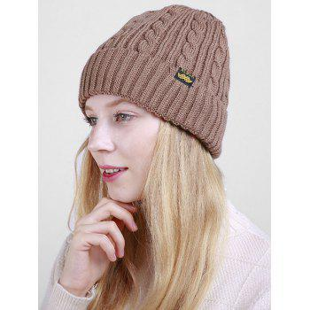 Outdoor ALBCK Pattern Flanging Knit Beanie - KHAKI