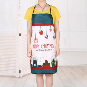 Christmas Cartoon House Print Waterproof Apron - COLORMIX 80*70CM