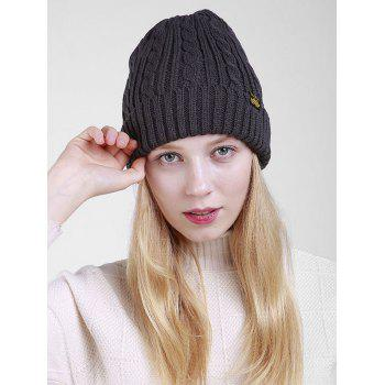 Outdoor ALBCK Pattern Flanging Knit Beanie - DEEP GRAY DEEP GRAY