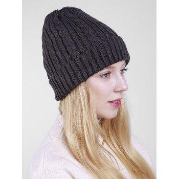 Outdoor ALBCK Pattern Flanging Knit Beanie -  DEEP GRAY