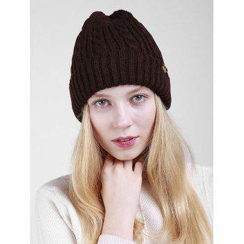 Outdoor ALBCK Pattern Flanging Knit Beanie - COFFEE COFFEE