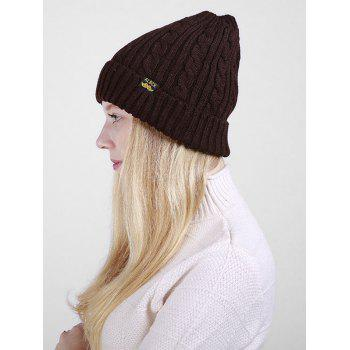 Outdoor ALBCK Pattern Flanging Knit Beanie - COFFEE