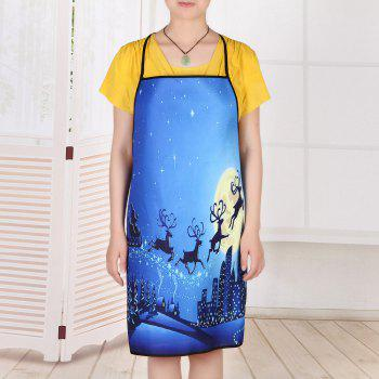 Christmas Moon City Printed Waterproof Apron - BLUE 80*70CM