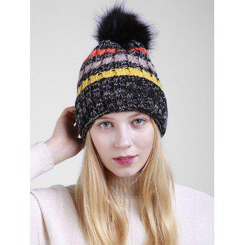 Soft Fuzzy Ball Crochet Thicken Knitted Beanie - BLACK BLACK