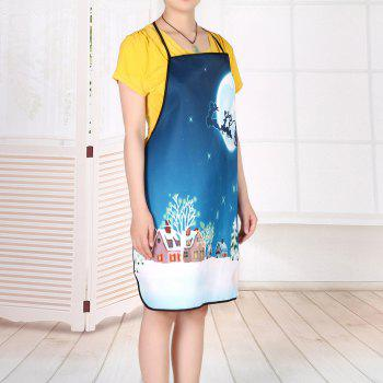 Christmas Moon Sled Pattern Waterproof Kitchen Apron - BLUE 80*70CM