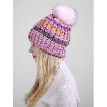 Soft Fuzzy Ball Crochet Thicken Knitted Beanie - PINK