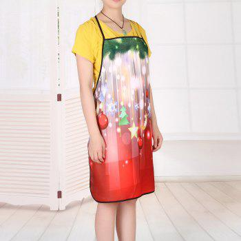 Christmas Ornaments Print Waterproof Kitchen Apron - RED 80*70CM