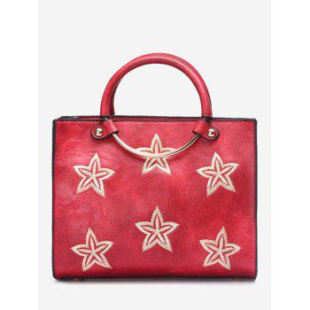 Embroidery Stars Round Ring Handbag - RED RED