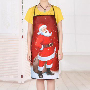 Santa Claus Print Waterproof Christmas Apron - RED 80*70CM