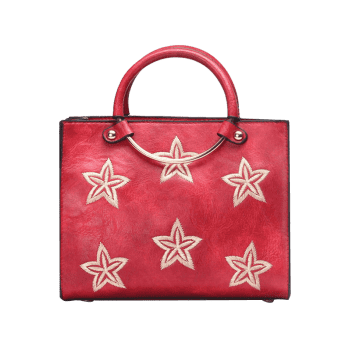Embroidery Stars Round Ring Handbag -  RED