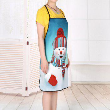 Christmas Snowman Printed Waterproof Kitchen Apron - TURQUOISE BLUE 80*70CM