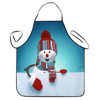 Christmas Snowman Printed Waterproof Kitchen Apron - TURQUOISE BLUE TURQUOISE BLUE