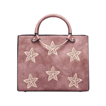 Embroidery Stars Round Ring Handbag - PINK
