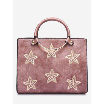 Embroidery Stars Round Ring Handbag - PINK PINK