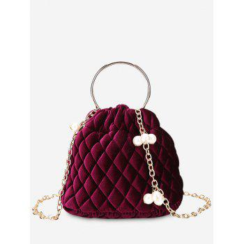 Quilted Stitching Faux Pearl Crossbody Bag - RED RED