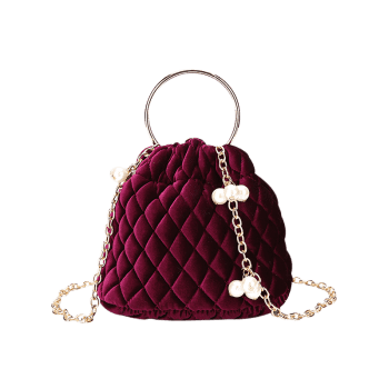 Quilted Stitching Faux Pearl Crossbody Bag -  RED