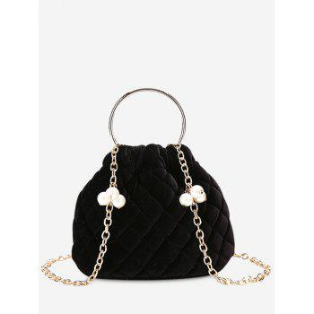 Quilted Stitching Faux Pearl Crossbody Bag - BLACK BLACK