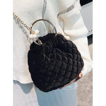 Quilted Stitching Faux Pearl Crossbody Bag - BLACK