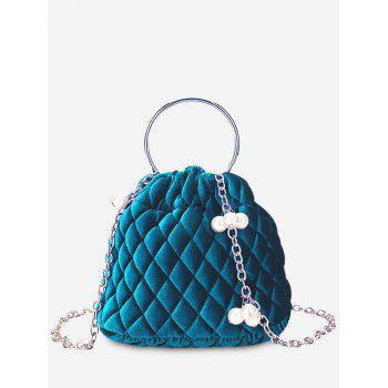 Quilted Stitching Faux Pearl Crossbody Bag - BLUE BLUE