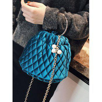 Quilted Stitching Faux Pearl Crossbody Bag - BLUE