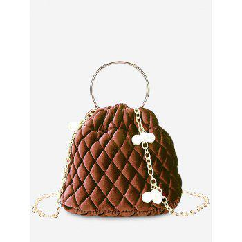 Quilted Stitching Faux Pearl Crossbody Bag - BROWN BROWN