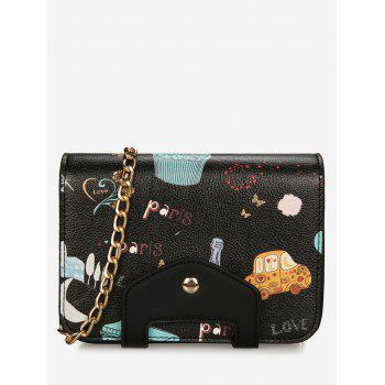 Patchwork Print Chain Crossbody Bag - BLACK BLACK