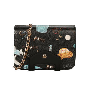 Patchwork Print Chain Crossbody Bag -  BLACK
