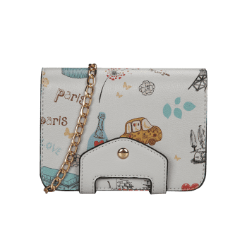 Patchwork Print Chain Crossbody Bag -  GRAY