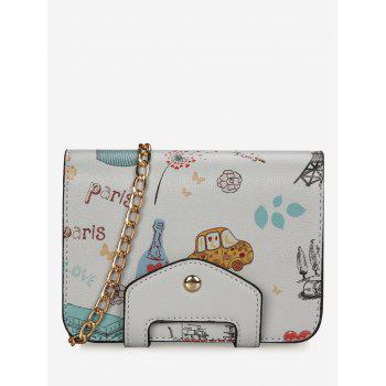 Patchwork Print Chain Crossbody Bag - GRAY GRAY