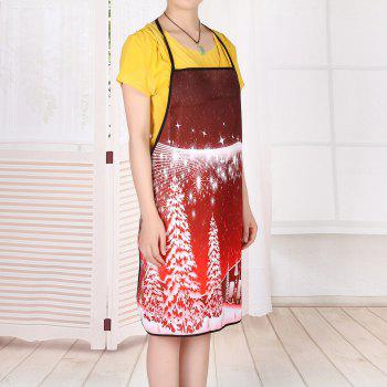 Christmas Snowscape Waterproof Cooking Apron - RED 80*70CM