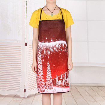 Christmas Snowscape Waterproof Cooking Apron - RED RED