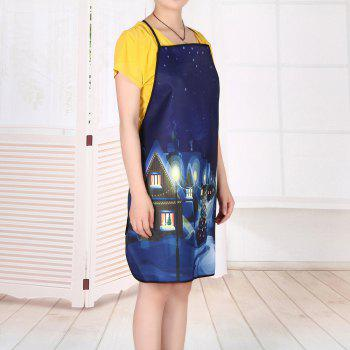 Village Christmas Night Print Waterproof Apron - DEEP BLUE DEEP BLUE