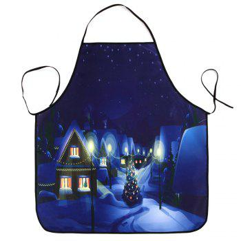 Village Christmas Night Print Waterproof Apron