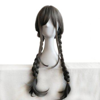 Long Inclined Fringe Double Braids Synthetic Wig - GRAY