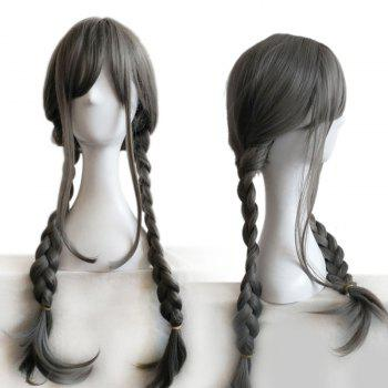 Long Inclined Fringe Double Braids Synthetic Wig - GRAY GRAY