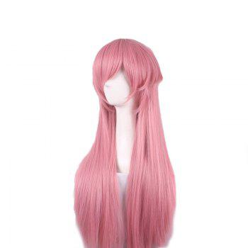 Side Bang Long Straight Journal futur Yuno Gasai Anime Cosplay perruque synthétique - ROSE PÂLE